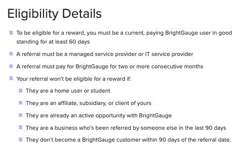 Eligibility details for the BrightGauge Referral Program