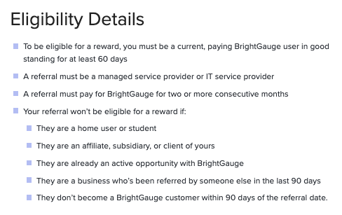 Eligibility details for the BrightGauge Referral Program